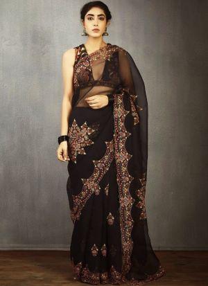 Glamorous Black Embroidered Saree
