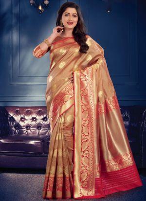 Glamorous Chiku Banarasi Crystal Silk Party Wear Saree
