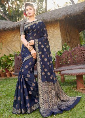 Glamorous Navy Handloom Silk Party Wear Saree