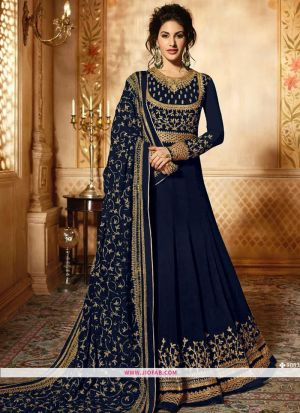 Glossy Simar 9085 Blue Georgette Embroidered Traditional Salwar Suit