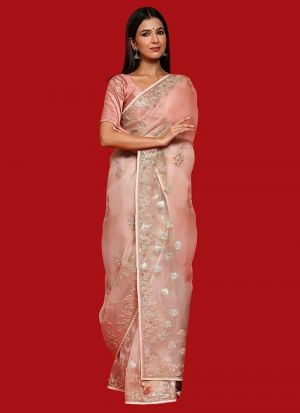Gorgeous Baby Pink Organza Silk Saree