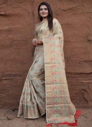 Gorgeous Beige Lichi Silk Saree