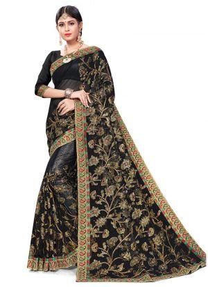 Gorgeous Black Designer Bemberg Saree