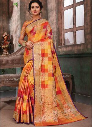 Gorgeous Multi Color Banarasi Pure Silk Saree With Blouse