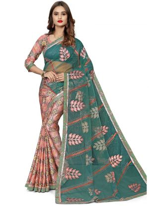 Gorgeous Multi Color Designer Jacquard Net Saree