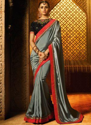 Gorgeous Sana Silk Grey Saree