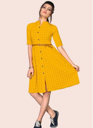 Gorgeous South Chex Cotton Flaried Yellow Colour Knee Length Dress