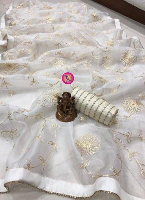 Gorgeous White Ribbon Work Party Wear Saree