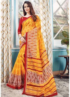 Gorgeous Yellow Designer Kota Saree