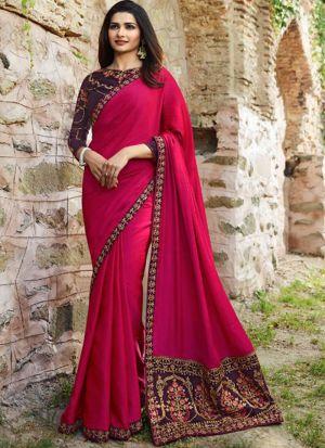Graceful Deep Pink Sana Silk Saree