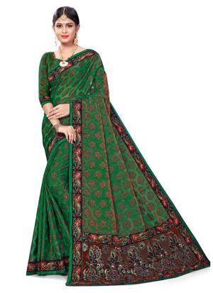 Graceful Green Jacquard Saree