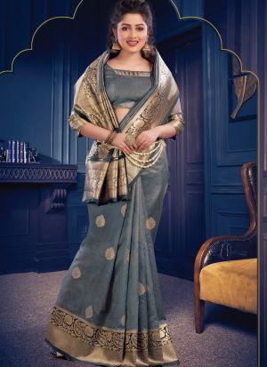 Graceful Grey Festive Wear Banarasi Crystal Silk Saree