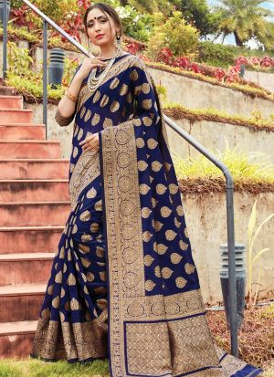 Graceful Navy Festive Wear Cotton Handloom Saree