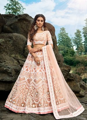 Graceful Peach Soft Net Ceremonial Trendy Lehenga Choli