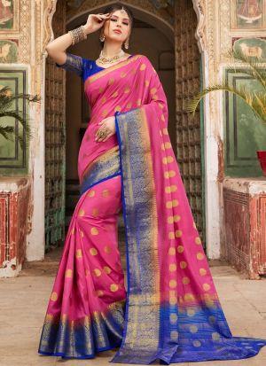 Graceful Pink Indian Wear Naylon Silk Saree