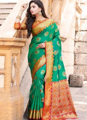 Graceful Rama Festive Wear Banarasi Silk Saree