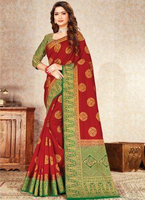 Graceful Red Indian Wear Naylon Silk Saree