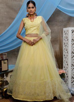 Graceful Yellow Wedding Wear Net Lehenga Choli