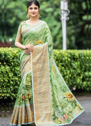 Green Beautiful Digital Printed Saree