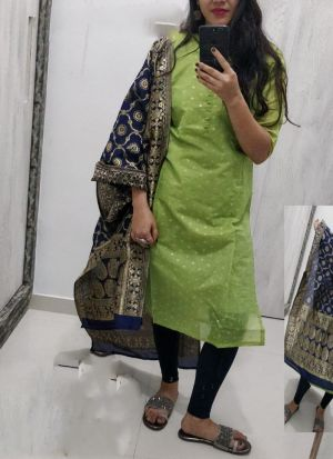 Green Chanderi Kurti With Dupatta