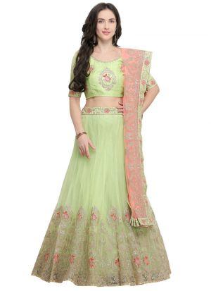 Green Designer Wedding Lehenga Choli With Net Fabric