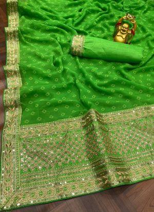 Green Georgette Digital Printed Saree