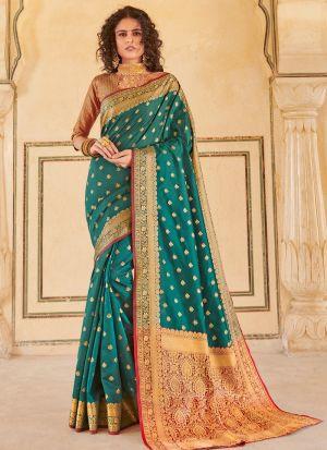 Green Handloom Silk Indian Traditional Saree