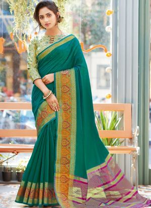 Green Khadi Silk Fabric Traditional Wear Fancy Saree