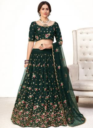 Green Net Embroidery Lehenga Choli
