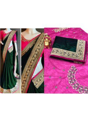Green Paper Silk Designer Traditional Saree