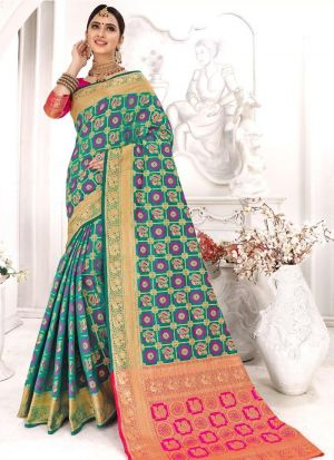 Green Patola Silk Most Beautiful Saree Collection