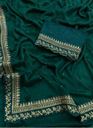 Green Rangoli Silk Hand Work Saree