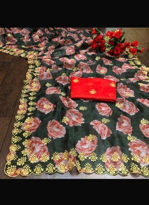 Green Soft Organza Zari Work Saree