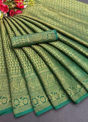 Green Soft Silk Indian Saree