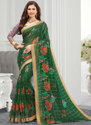 Green South Indian Cotton Designer Saree