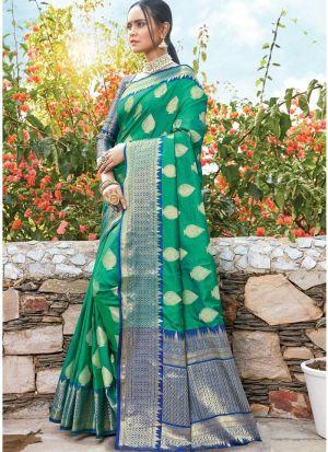 Green South Indian Dola Silk Designer Saree