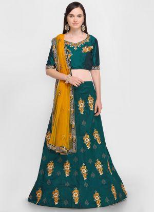 Green Velvet Silk Indian Wedding Lehenga Choli