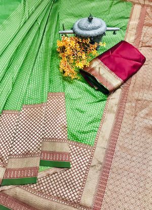 Green Weaving Lichi Silk Traditional Style Saree
