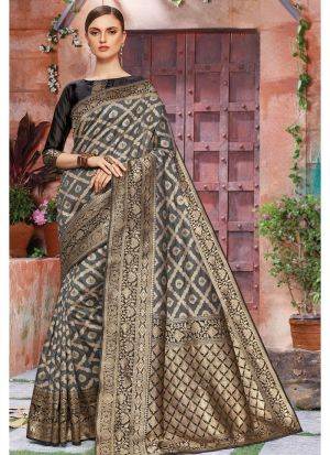 Grey Banarasi Crystal Silk Designer Traditional Saree For Wedding