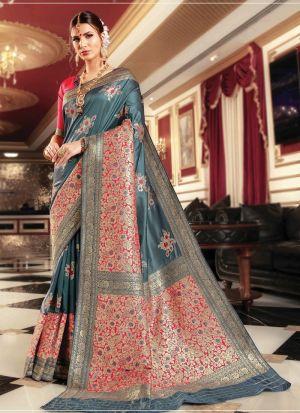 Grey Banarasi Silk Traditional Saree Collection