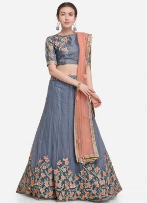 Grey Designer Exclusive Bridal Lehenga Choli
