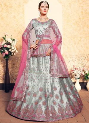 Grey Embroidered Designer Lehenga Choli For Wedding
