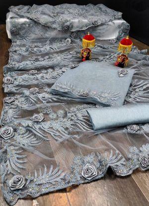 Grey Embroidery Work Net Saree