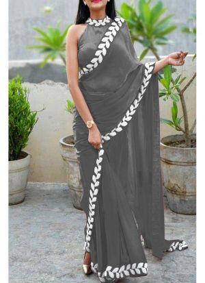 Grey Heavy Embroidery Lace Border Vichitra Silk Designer Saree