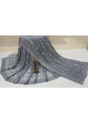 Grey Multi Work Traditional Naylon Mono Net Saree