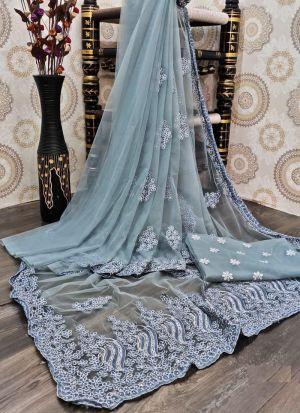 Grey Nylon Mono Net Embroidery Saree