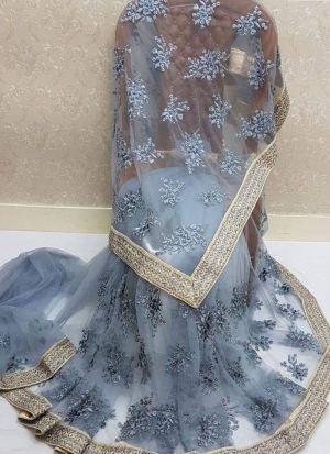 Grey Nylon Net Embroidery Saree