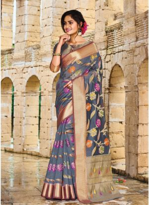 Grey Pure Silk Designer Traditional Saree Collection