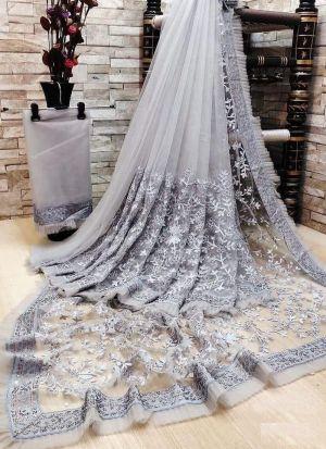 Grey Soft Net Diamond Work Saree