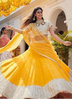 Haldi Special Yellow Zari Embroidery Lehenga Choli